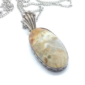 Jewelry - Sterling Silver Pendant with Faceted Fossil Rock